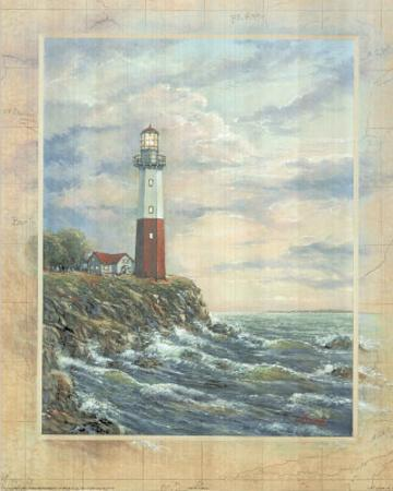 Standing Tall I Lighthouse with ocean ART PRINT poster