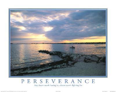 Perseverance motivational Dream Sunset Art Print Poster