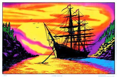 Sunset Bay Ship Flocked Blacklight Poster Art Print