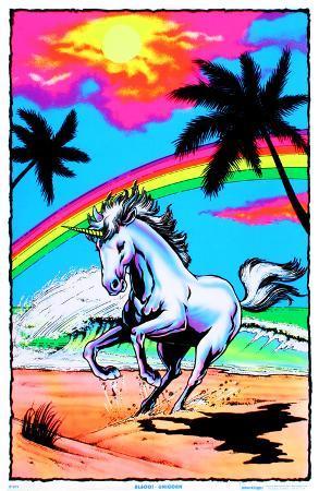 Galloping Unicorn with Rainbow Flocked Blacklight Poster Art Print