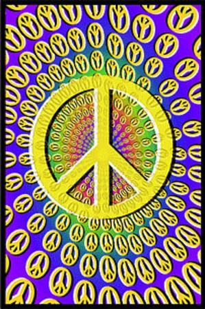 Peace Signs Blacklight Art Poster Print