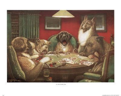 C.M. Coolidge Waterloo Dogs Playing Poker Art Print Poster