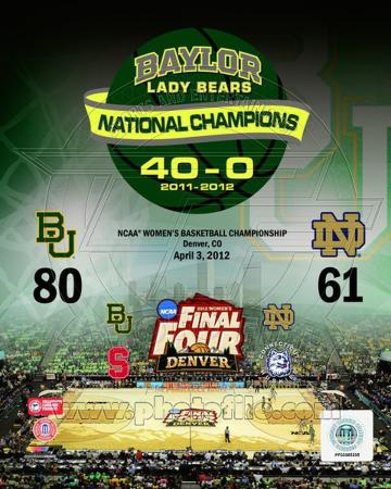 Baylor University Lady Bears 2012 NCAA Women's Final Four College Basketball National Champions Com