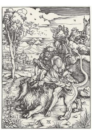 Albrecht Durer (Samson tears the lion) Art Poster Print