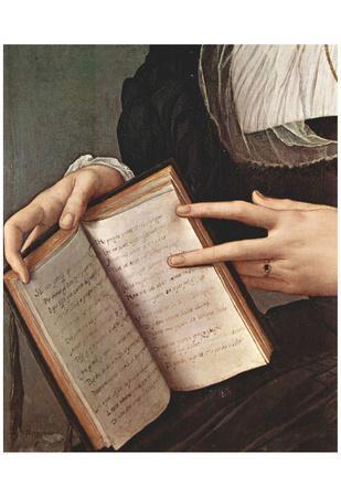 Angelo Bronzino (Portrait of Laura Battiferri, Detail: Book (Sonnets of Petrarch)) Art Poster Print