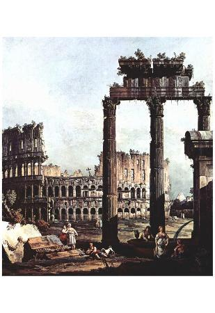 Canaletto (I) (Capriccio Romano, Colosseum with the ruins of the temple of the Vespian) Art Poster