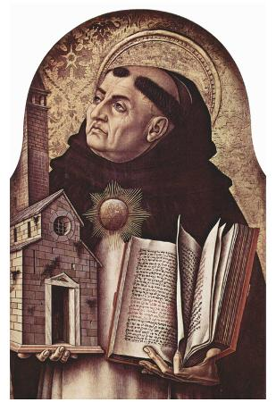 Carlo Crivelli (Altar of San Domenico at Ascoli, polyptych, left outer plate essay: St. Thomas Aqui