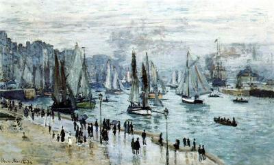 Claude Monet (Fishing Boats Leaving the Harbor, Le Havre) Art Poster Print