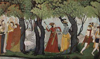Indian Painting around 1770 (Radha Krishna arrested) Art Poster Print