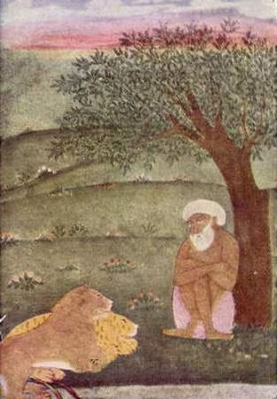 Indian painter to 1650 (II) (The dervish next lion and tiger) Art Poster Print