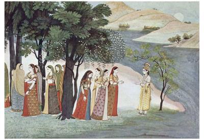 Indian painter to 1760/65 (Bhagavata-Purana manuscript, Scene: Krishna and Gopis) Art Poster Print