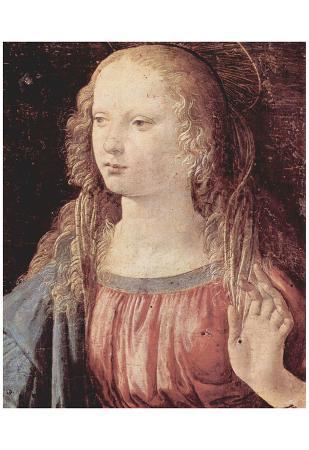 Leonardo da Vinci (Annunciation to Mary detail: Virgin of the Annunciation) Art Poster Print