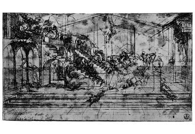 "Leonardo da Vinci (Study sheet for ""Adoration of the Magi"" background design) Art Poster Print"