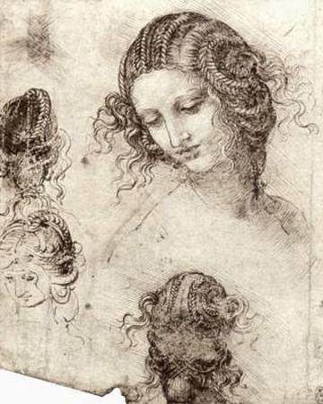 "Leonardo da Vinci (Head hair and costume studies for ""Leda"") Art Poster Print"