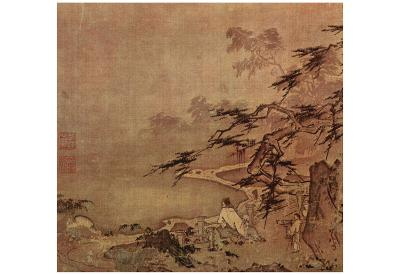 Ma Yuan (Scholar with a servant on a terrace) Art Poster Print