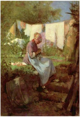 Nicolae Grigorescu (Flick end old woman) Art Poster Print