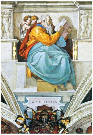 Michelangelo Buonarroti (Ceiling fresco of Creation in the Sistine Chapel, scene in Bezel: The Prop