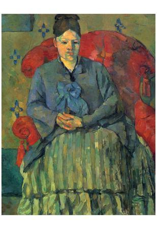 Paul Cezanne (Portrait of Mme Cezanne in a red armchair) Art Poster Print