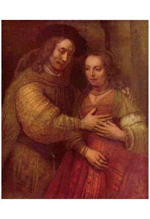 Rembrandt Harmensz. van Rijn (The Jewish Bride (The bride and groom), detail) Art Poster Print