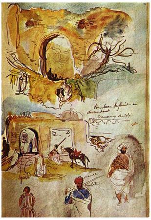 Eugène Ferdinand Victor Delacroix (Walls of Meknes (Morocco sketches from the book)) Art Poster Pri