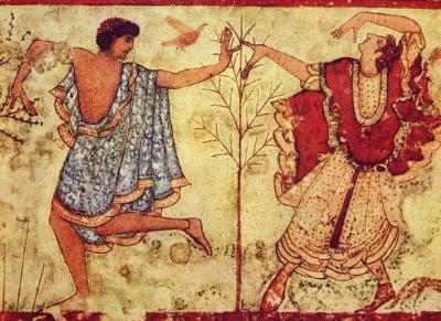Etruscan masters (Two dancers, detail) Art Poster Print