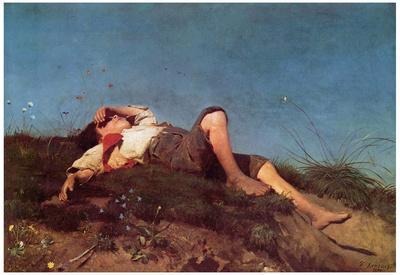 Franz von Lenbach (A shepherd boy) Art Poster Print