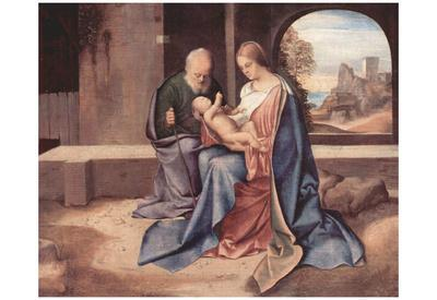 Giorgione (Benson Madonna, Scene: Holy Family) Art Poster Print
