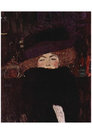 Gustav Klimt (Lady with Hat and Feather Boa) Art Poster Print