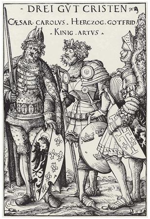 Hans Burgkmair d. Ä. (Three heroes of Christendom: Charlemagne, King Arthur, Gottfried von Bouillon