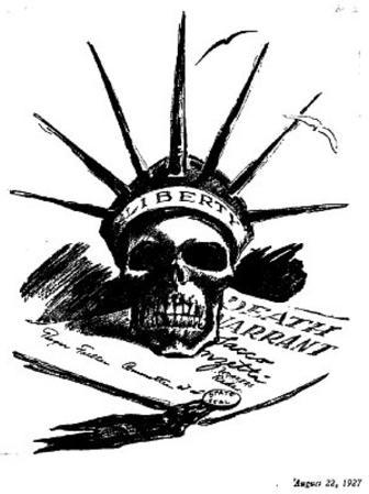 The Daily Worker Cartoon (Case of Sacco &Vanzetti, Liberty Skull) Art Poster Print