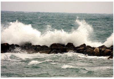 Waves (Crashing on Rock Wall) Art Poster Print