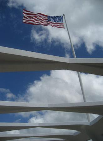 USS Arizona Memorial, Pearl Harbor (American Flag) Art Poster Print