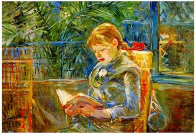 Berthe Morisot Little Girl Reading Art Print Poster