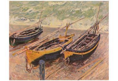 Claude Monet (Barken of Etretat (Three fishing boats)) Art Poster Print