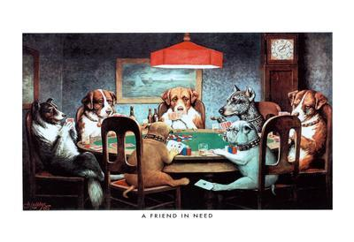 C.M. Coolidge A Friend in Need Dogs Playing Poker Art Print Poster