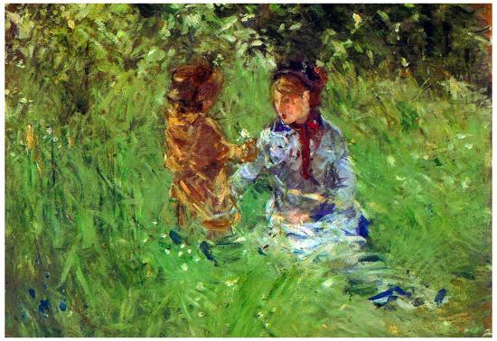 Berthe Morisot Woman and Child in Garden in Bougival