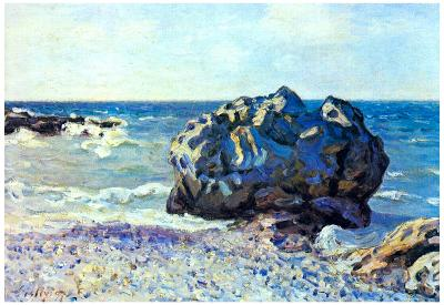 Alfred Sisley Bay of Longland with Rock Art Print Poster
