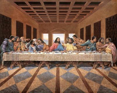 Black Last Supper Art Print Poster religious Jesus GOD