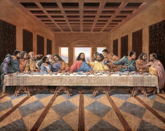 Black Last Supper Art Print Poster Religious Jesus God Prints At