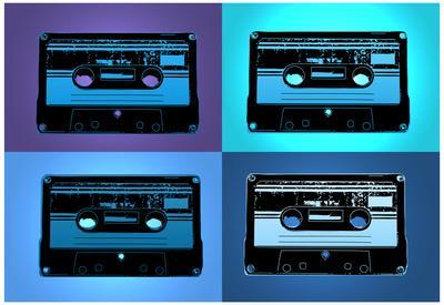 Audio Cassette Tapes Blue Pop Art Print Poster