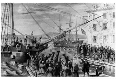 Boston Tea Party (Unloading Boat) Art Poster Print