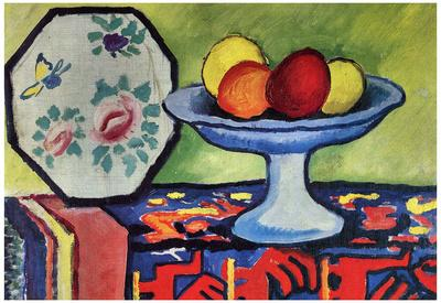 August Macke Still Life with Apple Peel and a Japanese Fan Art Print Poster