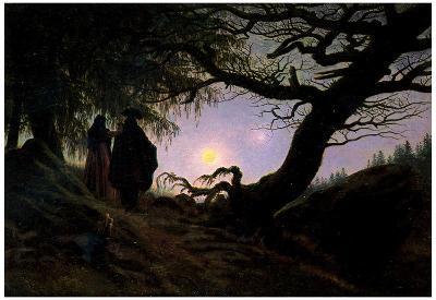 Caspar David Friedrich (Men and women considering the moon) Art Poster Print