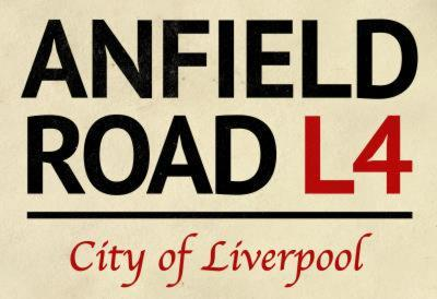 Anfield Road L4 Liverpool Street Sign Poster