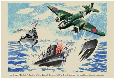 British Blenheim Bomber of Coastal Command Aids a British Destroyer WWII War Propaganda Poster