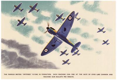 British Spitfires Figher Planes WWII War Propaganda Art Print Poster