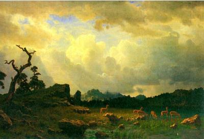 Albert Bierstadt Thunderstorms in the Rocky Mountains Art Print Poster