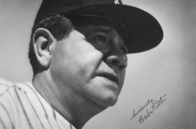 Babe Ruth Face Archival Photo Poster Print