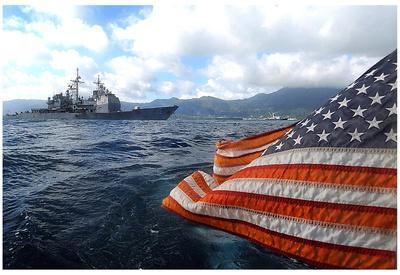 Cruiser (USS Vella Gulf, American Flag) Art Poster Print