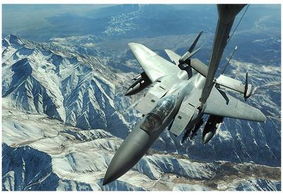 F-15E Strike Eagle (Refueling Above Mountains) Art Poster Print